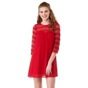 Speechless Red Lace 3/4th Sleeve Sweetheart Dress